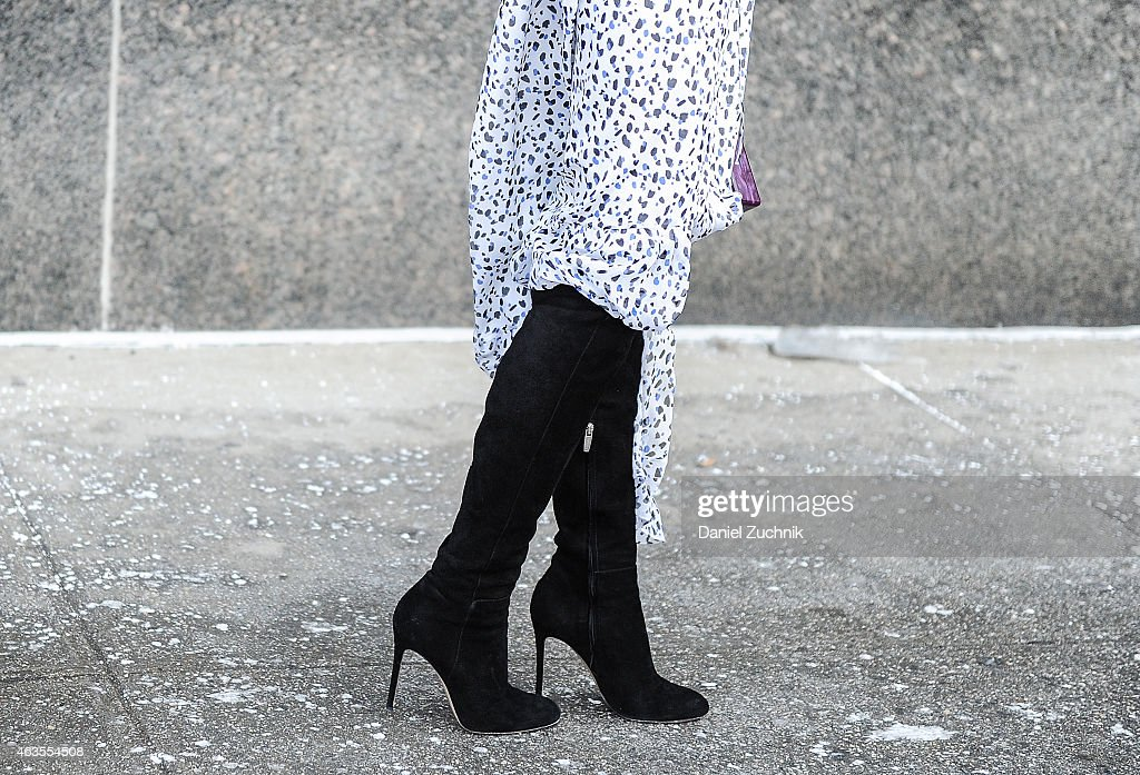 A general view of atmosphere is seen outside the DVF show on February 15 2015 in New York City
