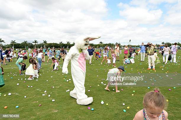 A general view of atmosphere of Easter Egg Hunt at USPA Maserati US Open Polo Championship at International Polo Club Palm Beach on April 20 2014 in...