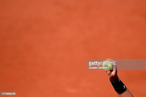 A general view of atmosphere of Philippe Chatrier court during the men's singles second round at Roland Garros on May 27 2015 in Paris France
