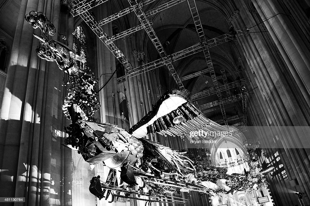 A general view of atmosphere of the art installation of the Phoenix (2008-10) by artist Xu Bing during Logo TV's 'Trailblazers' at the Cathedral of St. John the Divine on June 23, 2014 in New York City.
