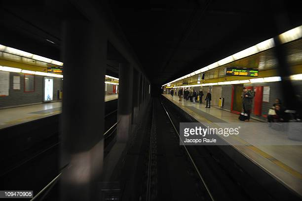 General view of atmosphere of The First Fashion Show On A Metro Train during Milan Fashion Week Womenswear Autumn/Winter 2011 on February 26 2011 in...