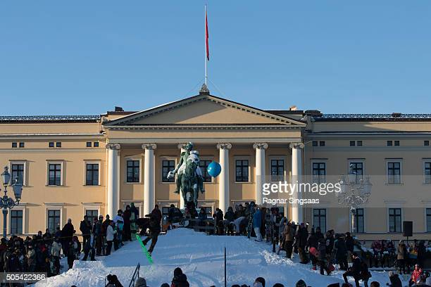 A general view of atmosphere of the Royal Palace during the 25th anniversary of King Harald V and Queen Sonja of Norway as monarchs on January 17...