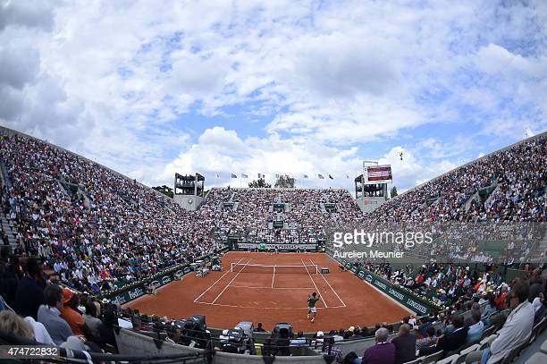 A general view of atmosphere of the Suzanne Lenglen court during the men's single first round match against Gael Monfils of France at Roland Garros...