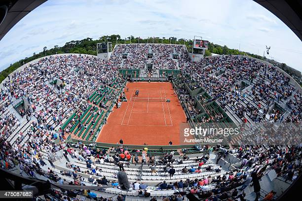 A general view of atmosphere of the Suzanne Lenglen court during the women's singles third round at Roland Garros on May 29 2015 in Paris France