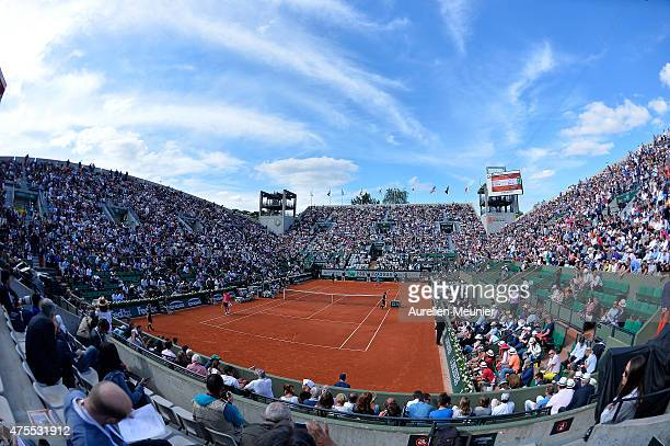 A general view of atmosphere of the Suzanne Lenglen court during the men's singles fourth round match at Roland Garros on June 1 2015 in Paris France