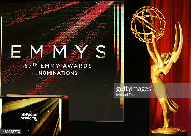 A general view of atmosphere onstage during the 67th Primetime Emmy Awards nominations held at SilverScreen Theater at the Pacific Design Center on...