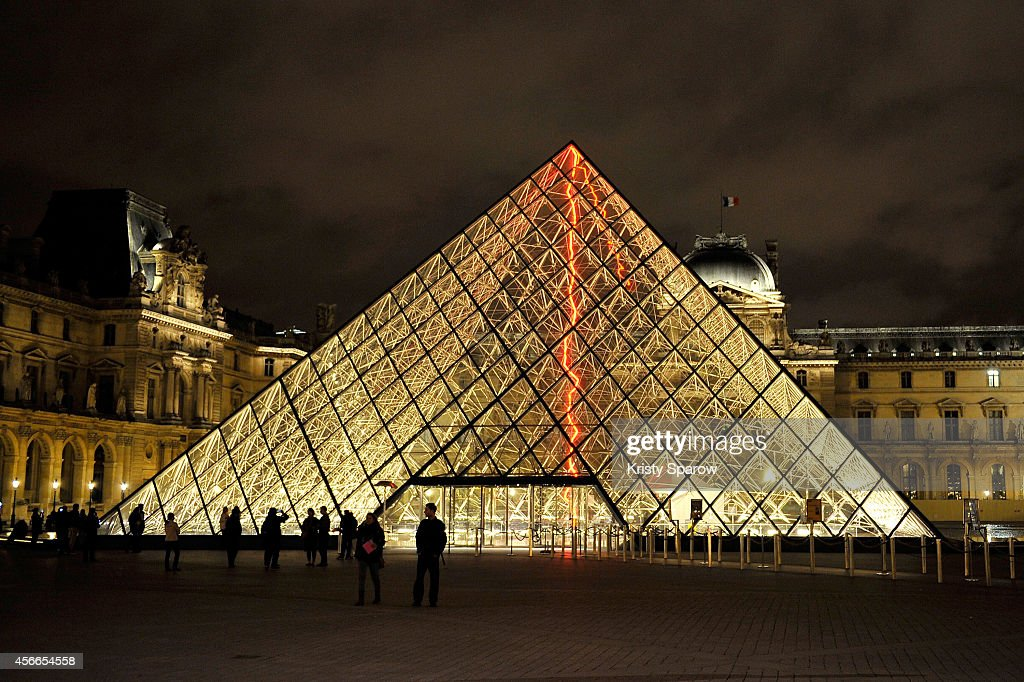 A general view of atmosphere outside Le Louvre Museum during Nuit Blanche 2014 on October 4, 2014 in Paris, France.