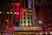 General view of atmosphere outside of Radio City Music Hall as The Tenderloins perform during the truTV Impractical Jokers 'Where's Larry' Tour at...