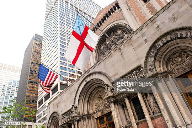 General view of atmosphere outside the memorial service for L'Wren Scott at St Bartholomew's Church on May 2 2014 in New York City Fashion designer...