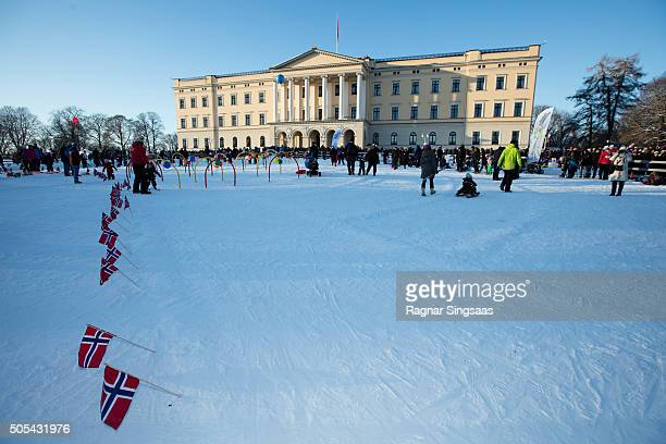 A general view of atmosphere outside the Royal Palace during the 25th anniversary of King Harald V and Queen Sonja of Norway as monarchs on January...