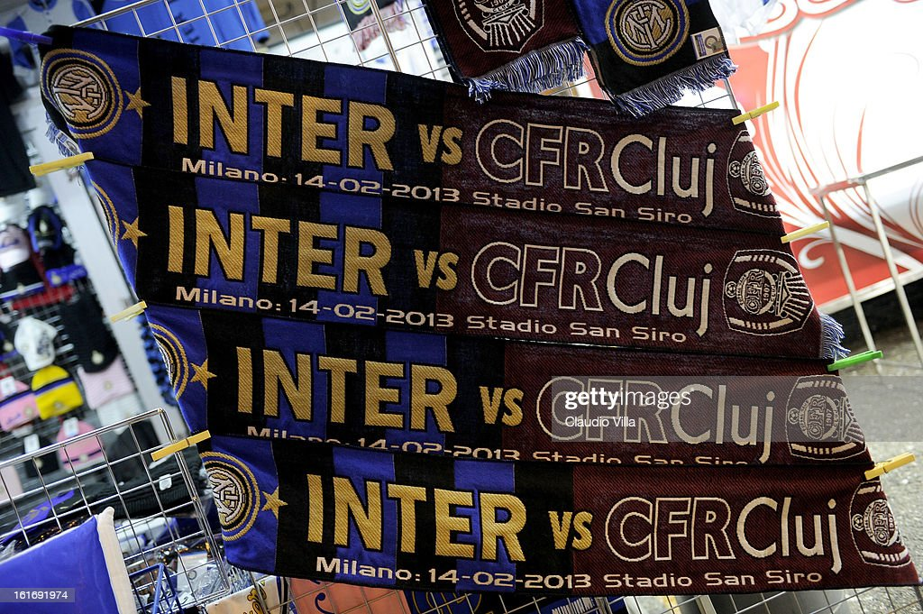 A general view of atmosphere outside the stadium before the UEFA Europa League round of 32 match between FC Internazionale Milano and CFR 1907 Cluj at San Siro Stadium on February 14, 2013 in Milan, Italy.