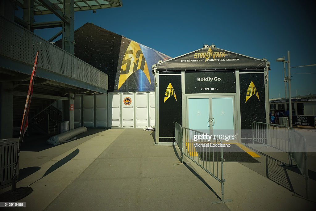 General view of atmosphere outside the Star Trek: The Star Fleet Academy Experience Preview at Intrepid Sea-Air-Space Museum on June 30, 2016 in New York City.