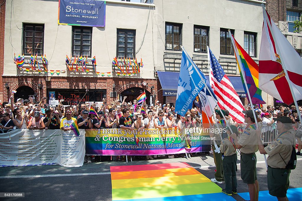 A general view of atmosphere outside the Stonewall Inn during the 2016 Pride March on June 26, 2016 in New York City.
