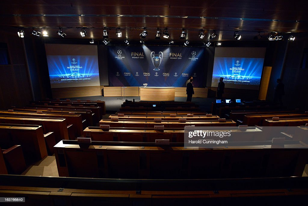 A general view of atmosphere prior to the UEFA Champions League quarter finals draw at the UEFA headquarters on March 15, 2013 in Nyon, Switzerland.
