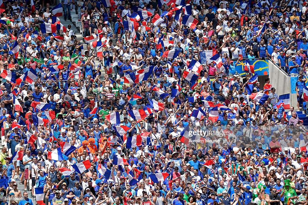 A general view of atmosphere with french fans during the UEFA Euro 2016 round of 16 match between France and the Republic of Ireland at Stade des Lumieres on June 26, 2016 in Lyon, France.