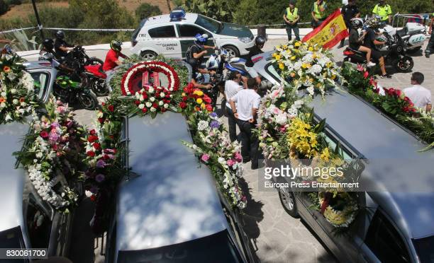A general view of atmosphere with guests during the funeral at Parroquia de Santa Eularia for ex motorcyclist Angel Nieto at Tanatorio de Ibiza on...