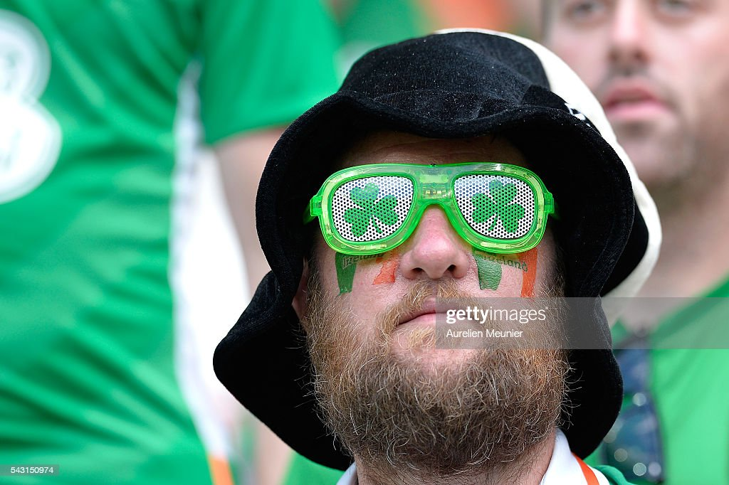 A general view of atmosphere with Irish fans during the UEFA Euro 2016 round of 16 match between France and the Republic of Ireland at Stade des Lumieres on June 26, 2016 in Lyon, France.