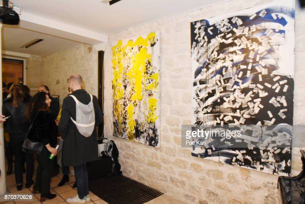 A general view of atmosphere with Larry Clark works during the Larry Painting Exhibition and Concert by Jonathan Velasquez Steve dalachinsky and...