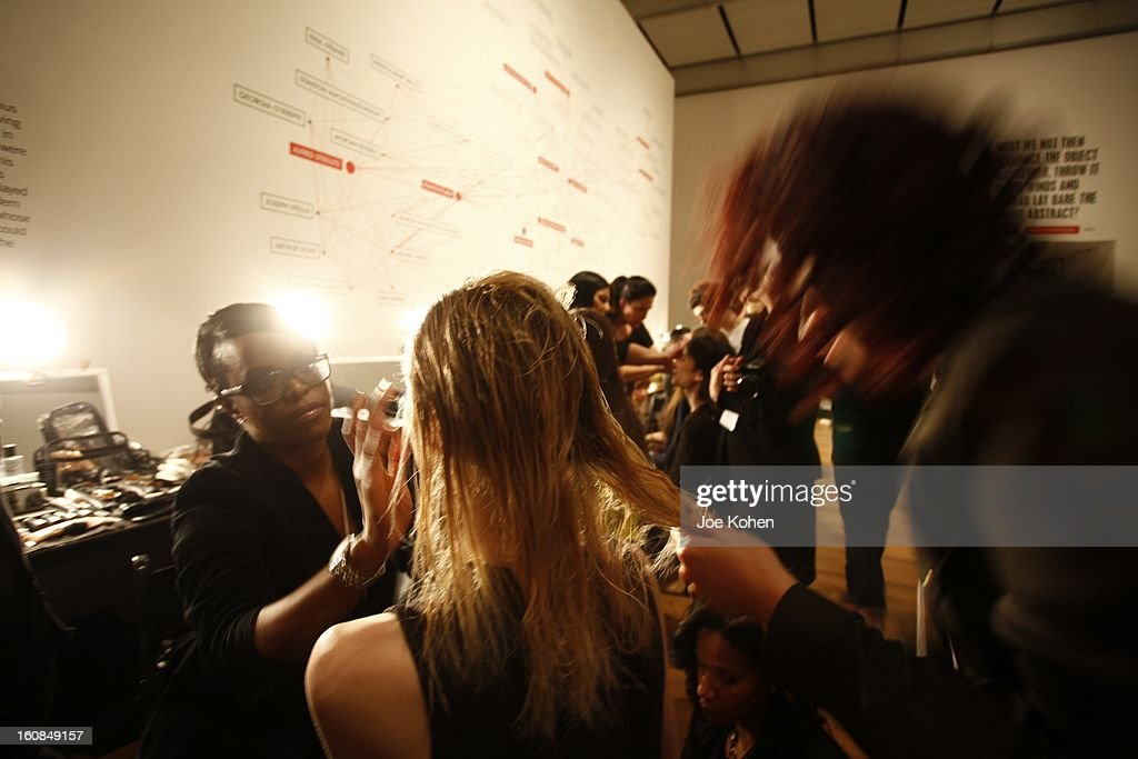 General view of Atmphere backstage at the Tanya Taylor fall 2013 presentation at The Museum of Modern Art on February 6, 2013 in New York City.
