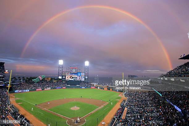 General view of ATT Park with a rainbow in the background during the first inning between the San Francisco Giants and the Arizona Diamondbacks on...