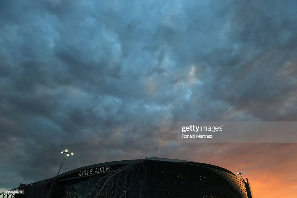 A general view of ATT Stadium before a game between the New Orleans Saints and the Dallas Cowboys on September 28 2014 in Arlington Texas