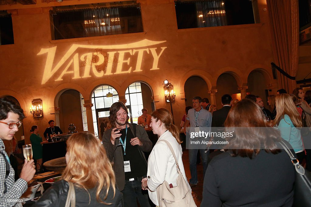 A general view of attendees during the cocktail reception at Variety Presents