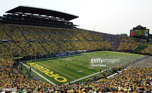 A general view of Autzen Stadium during the second quarter of the game between the Oregon Ducks and the Michigan State Spartans at Autzen Stadium on...