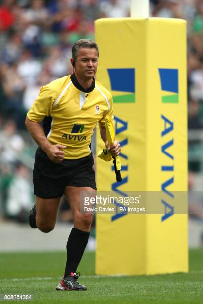 A general view of Aviva signage on the touch judges uniform and goal posts