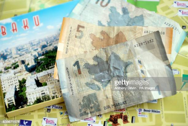 General view of Azerbaijan currency the Manat on top of a map of Baku Azerbaijan