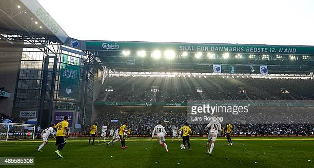 General view of backlight in the stadium during the Danish Superliga match between FC Copenhagen and Brondby IF at Telia Parken Stadium on March 8...