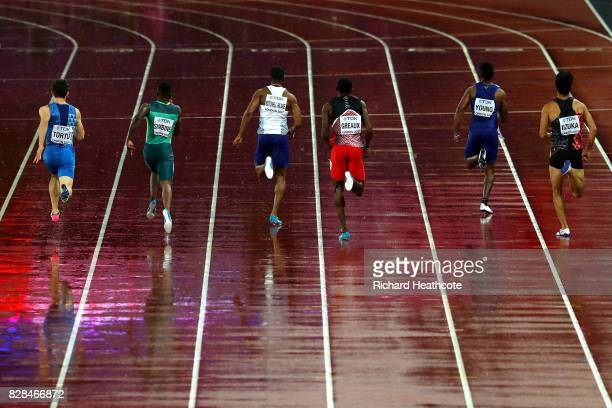 General view of backs of Filippo Tortu of Italy Akani Simbine of South Africa Nethaneel MitchellBlake of Great Britain Kyle Greaux of Trinidad and...