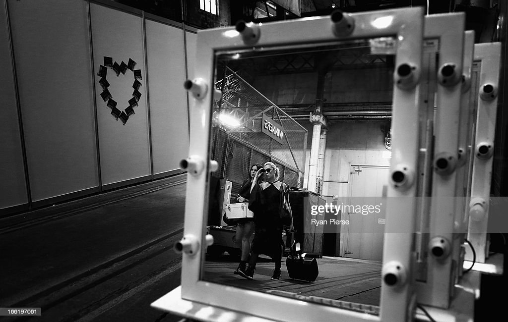 A general view of backstage during Mercedes-Benz Fashion Week Australia Spring/Summer 2013/14 at Carriageworks on April 10, 2013 in Sydney, Australia.