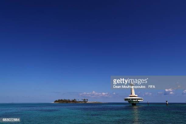 A general view of Balmoral Island a private beach resort near Nassau during the FIFA Beach Soccer World Cup Bahamas 2017 on May 8 2017 in Nassau...