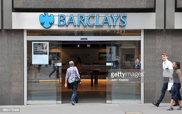 A general view of Barclays bank entrance in Fenchurch Street on July 28 2016 in London England
