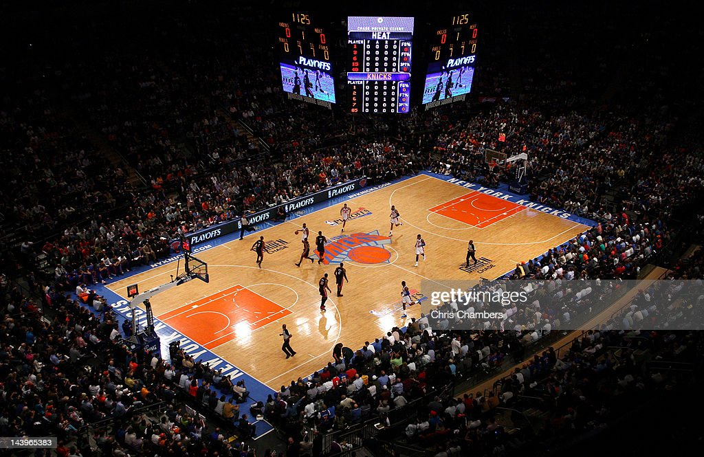A general view of Baron Davis of the New York Knicks bringing the ball up court in the first quarter against the Miami Heat in Game Four of the...
