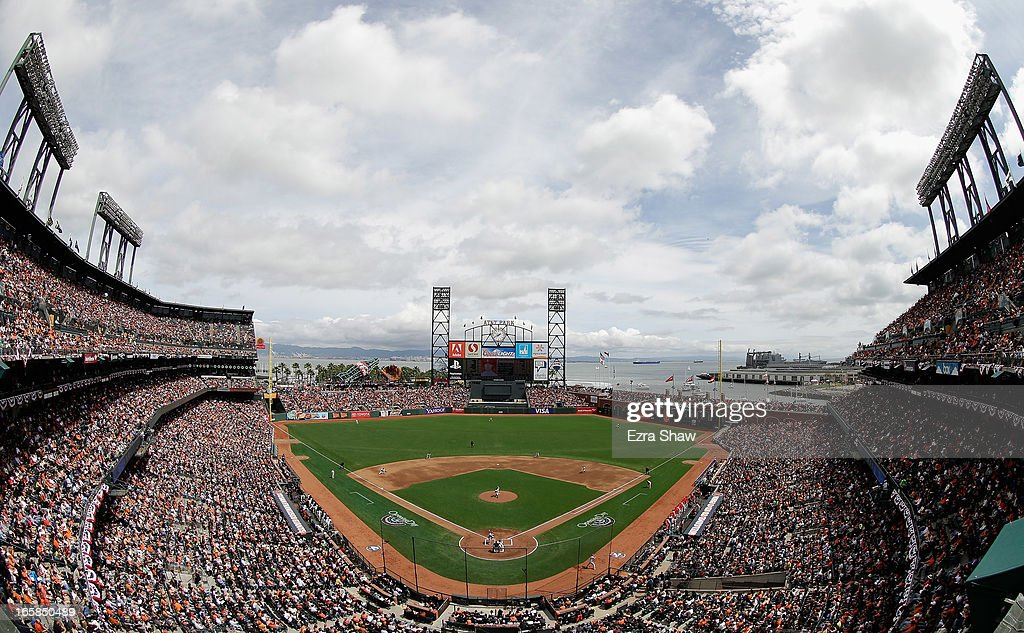 General view of <a gi-track='captionPersonalityLinkClicked' href=/galleries/search?phrase=Barry+Zito&family=editorial&specificpeople=202943 ng-click='$event.stopPropagation()'>Barry Zito</a> #75 of the San Francisco Giants pitches against the St. Louis Cardinals at AT&T Park on April 5, 2013 in San Francisco, California.