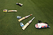 A general view of bats and gloves during the 2015 ICC Cricket World Cup match between Sri Lanka and Bangladesh at Melbourne Cricket Ground on...