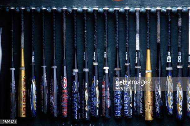 A general view of bats during the College World Series at Rosenblatt Stadium on June 13 2000 in Omaha Nebraska