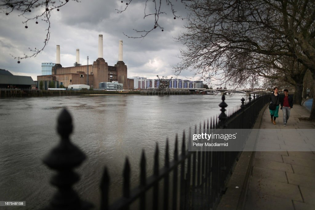 A general view of Battersea power station on April 26, 2013 in London, England. Built in the 1930s, with an identical second section added in the 1950s, the Grade II* listed building last generated electricity in 1983. The 15.7 hectare site on the south bank of The River Thames is being re-developed. Over the next 11 years 3400 homes, office space and a theatre will be built in and around the power station which is still the largest brick building in Europe.