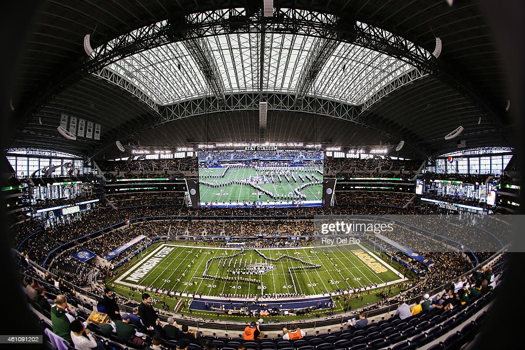 General view of Baylor Bears marching band before the start of the game against the Michigan State Spartans and the Baylor Bears at the Goodyear Cotton Bowl Classic at AT&T Stadium on January 1, 2015 in Arlington, Texas.