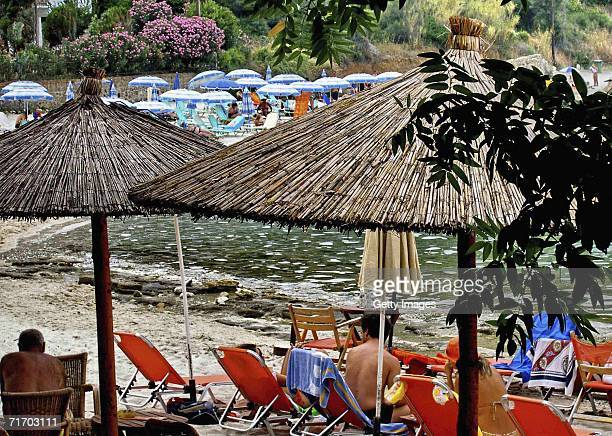 A general view of beach life before forest fires swept through the region causing chaos to holiday makers July 31 2006 in Halkidiki Northern Greece...