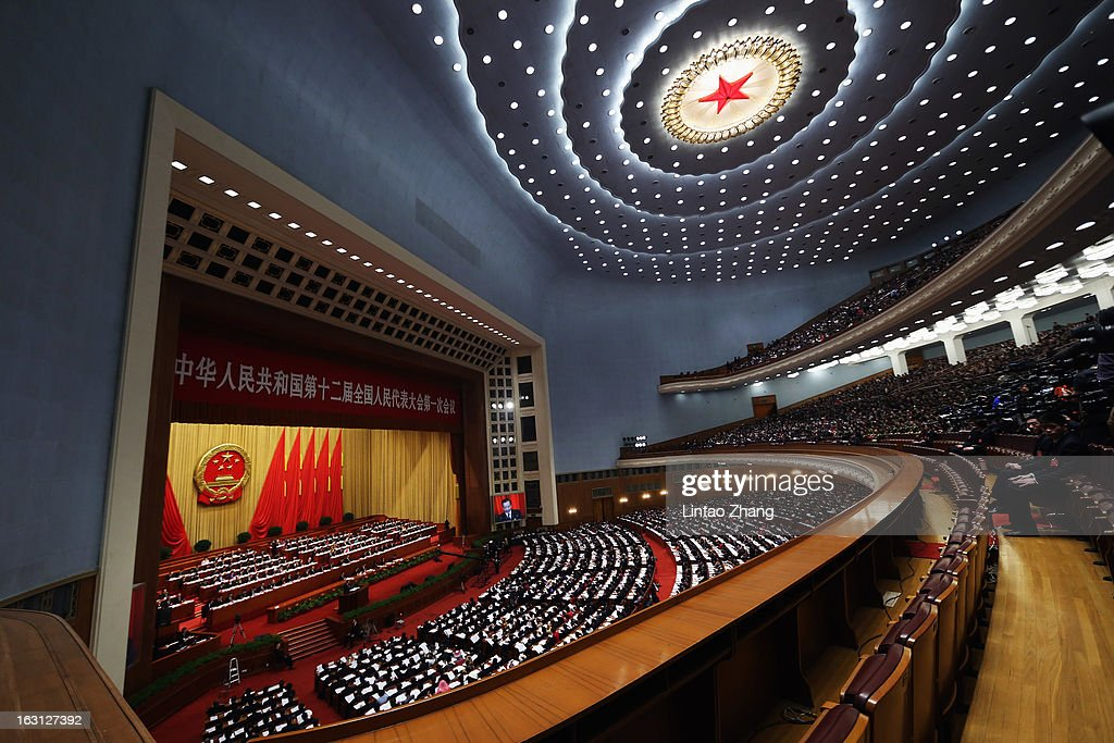A general view of Beijing's Great Hall of the People during the opening session of the annual National People's Congress at Great Hall of the People on March 5, 2013 in Beijing, China. Over 2,000 members of the 12th National Committee of the Chinese People's Political Consultative, a political advisory body, are attending the annual session, during which they will discuss the development of China. Premier Wen Jiabao's opening report focused on the goals of improved welfare provision, steady economic growth while maintaining social stability.