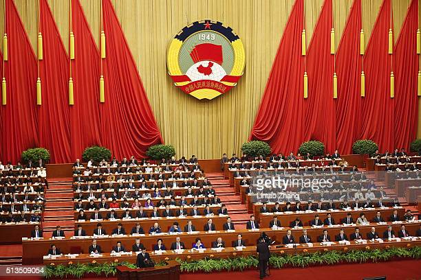 A general view of Beijing's Great Hall of the People during the opening session of the Chinese People's Political Consultative Conference on March 3...