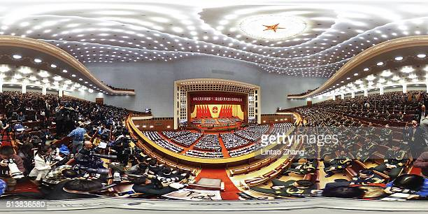 A general view of Beijing's Great Hall of the People during the opening session of the opening session of the National People's Congress on March 5...