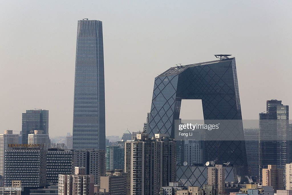 A general view of Beijing's tallest skyscraper China World Trade Center Tower III and China Central Television Headquarters at central business...
