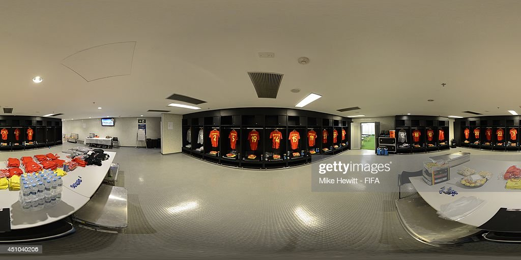 A general view of Belgium dressing room before the 2014 FIFA World Cup Brazil Group H match between Belgium v Russia at Maracana on June 22, 2014 in Rio de Janeiro, Brazil.
