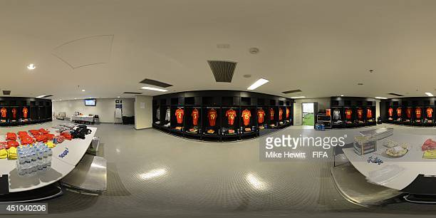 A general view of Belgium dressing room before the 2014 FIFA World Cup Brazil Group H match between Belgium v Russia at Maracana on June 22 2014 in...