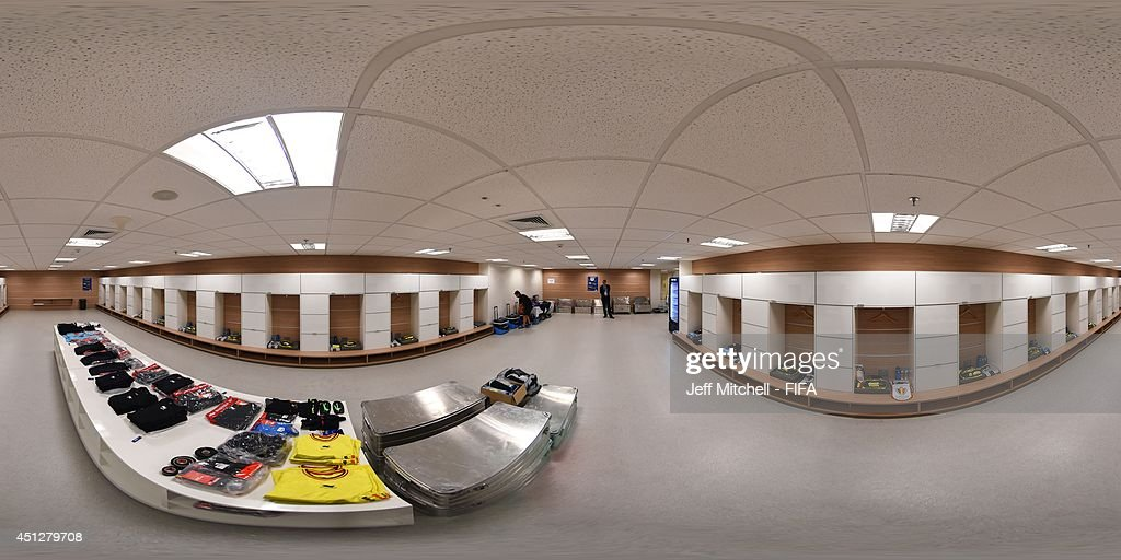 A general view of Belgium dressing room before the 2014 FIFA World Cup Brazil Group H match between Korea Republic v Belgium at Arena de Sao Paulo on...