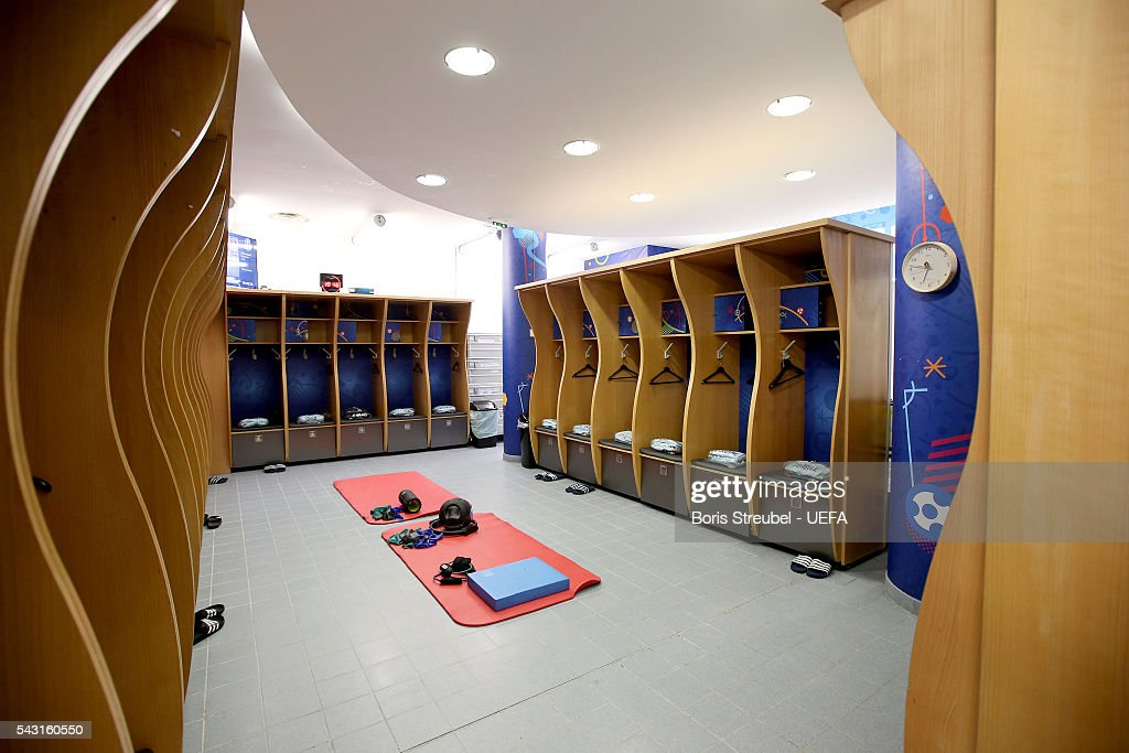 A general view of Belgium dressing room prior to the UEFA EURO 2016 round of 16 match bewtween Hungary and Belgium at Stadium Municipal on June 26, 2016 in Toulouse, France.