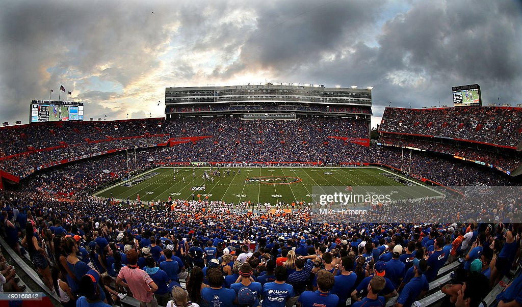 A general view of Ben Hill Griffin Stadium during a game between the Florida Gators and the Tennessee Volunteers on September 26 2015 in Gainesville...